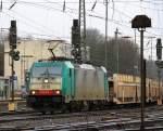 Reihe 2800/183494/die-cobra-2818-faehrt-mit-einem Die Cobra 2818 fährt mit einem Autolleerzug von Aachen-West nach Belgien bei Regenwetter am 4.3.2012.