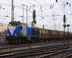 guterzuge/173620/die-v107-von-der-rurtalbahn-faehrt Die V107 von der Rurtalbahn fährt mit einem Bleizug aus Antwerpen-Lillo nach Stolberg-Hammer bei der Ausfahrt in Aachen-West bei Nieselregen am 28.12.2011.